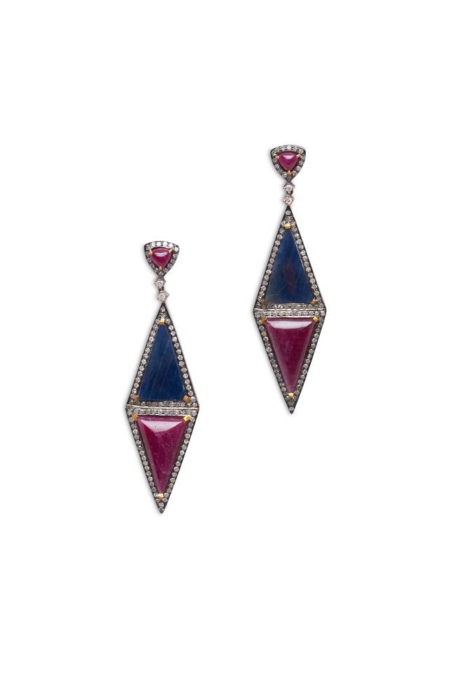 Gold Sapphire, Ruby & Diamond Triangle Earrings