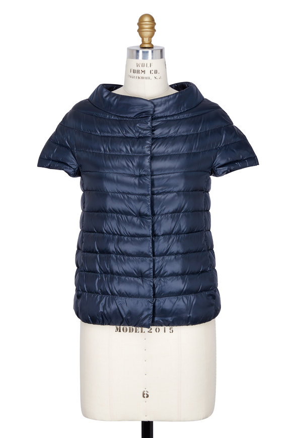 Herno Navy Blue Shiny Puffer Cardigan