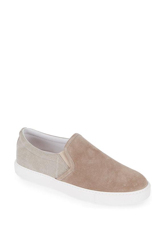 Brunello Cucinelli Sand Suede & Canvas Slip-On Sneaker