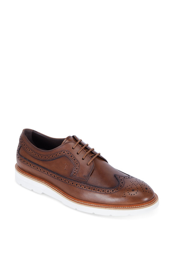 Tod's Brown Burnished Leather Wingtip Derby Shoe