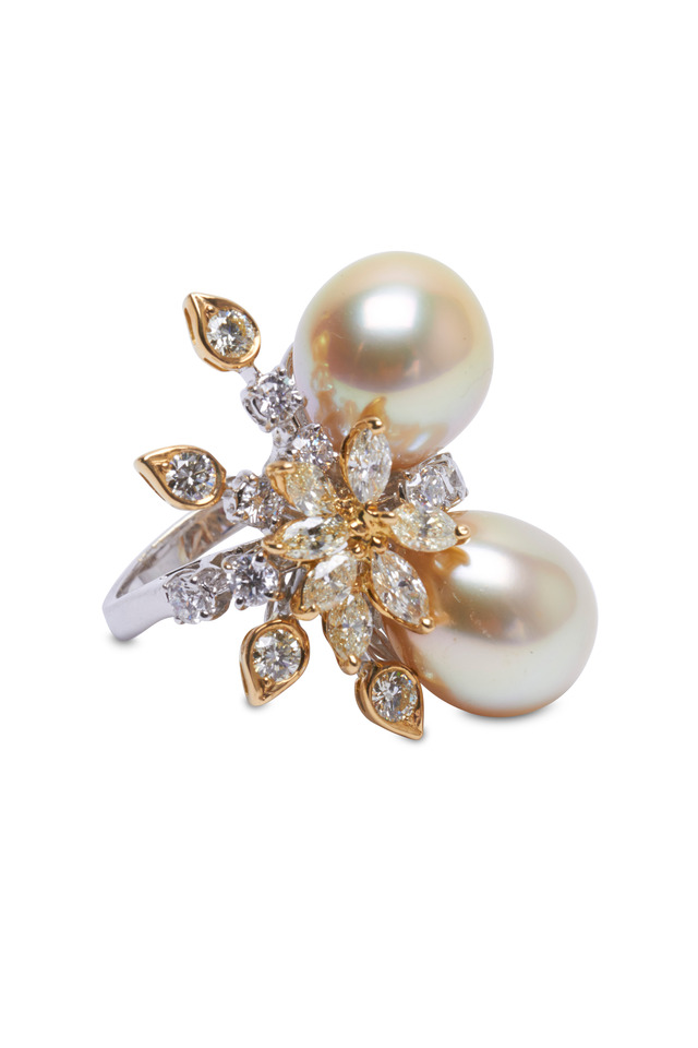 Yellow Gold Pearls White Diamond Ring