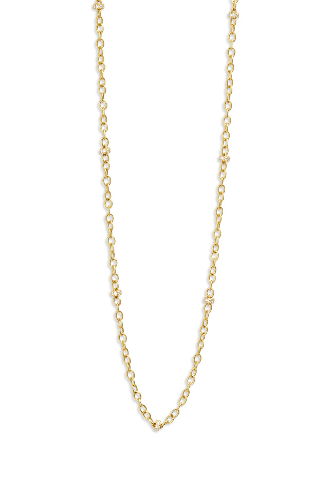 Yellow Gold Diamond Rondelle Chain Necklace