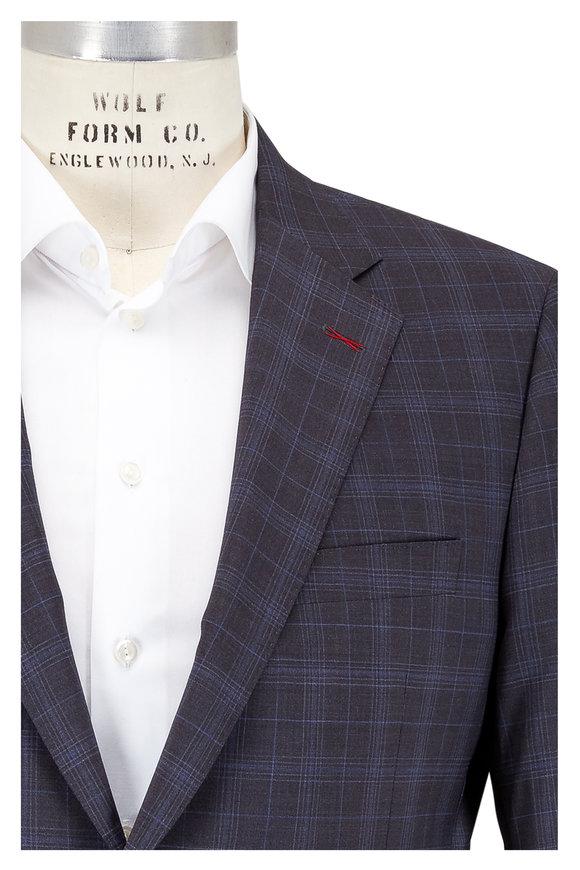 Samuelsohn Bennet Charcoal Gray & Blue Plaid Wool Suit