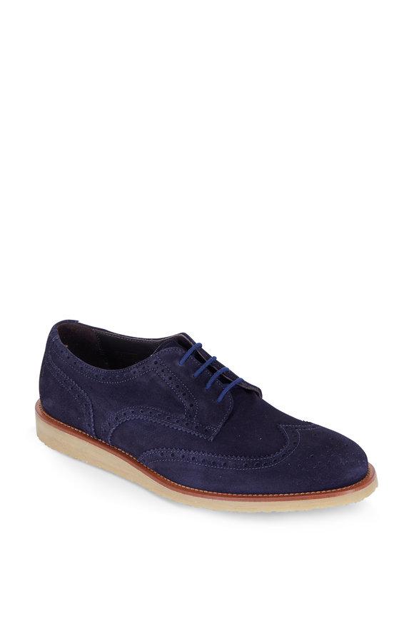 To Boot New York Edmond Navy Blue Suede Wingtip Derby Shoe