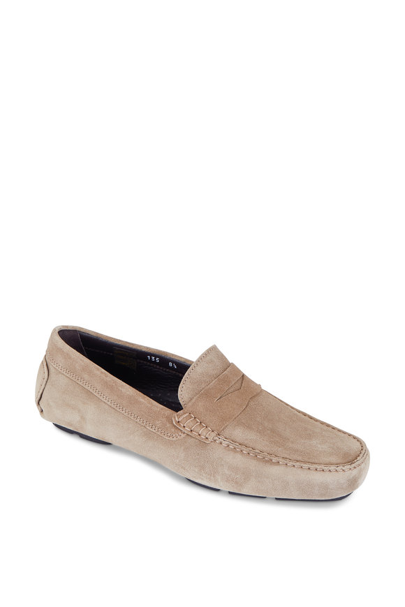 To Boot New York Mitchum Taupe Suede Penny Driver