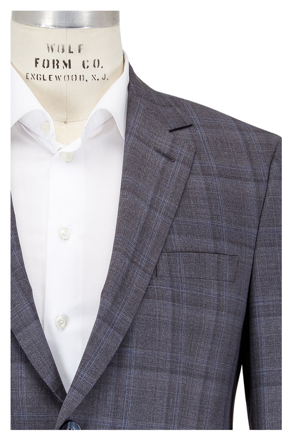 Coppley Light Gray & Blue Plaid Wool Suit
