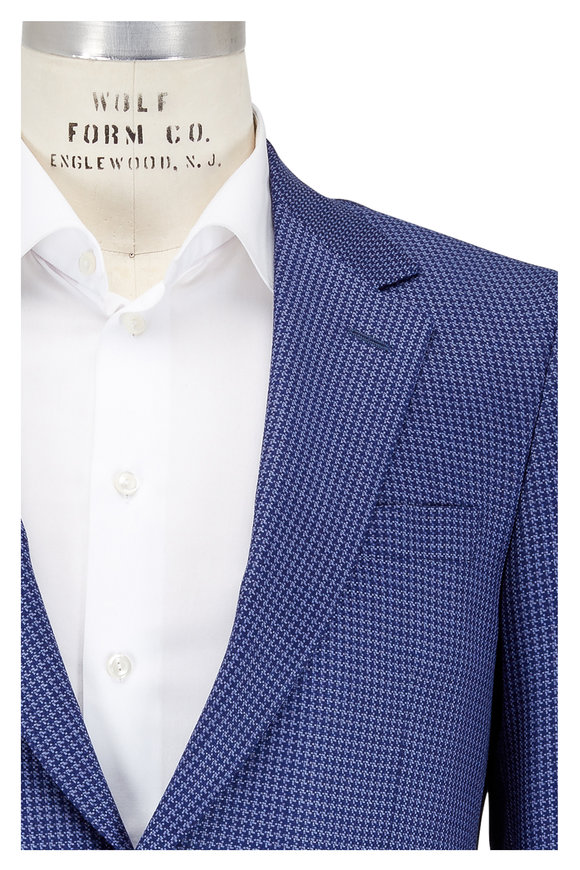 Coppley Blue Tonal Houndstooth Wool Sportcoat