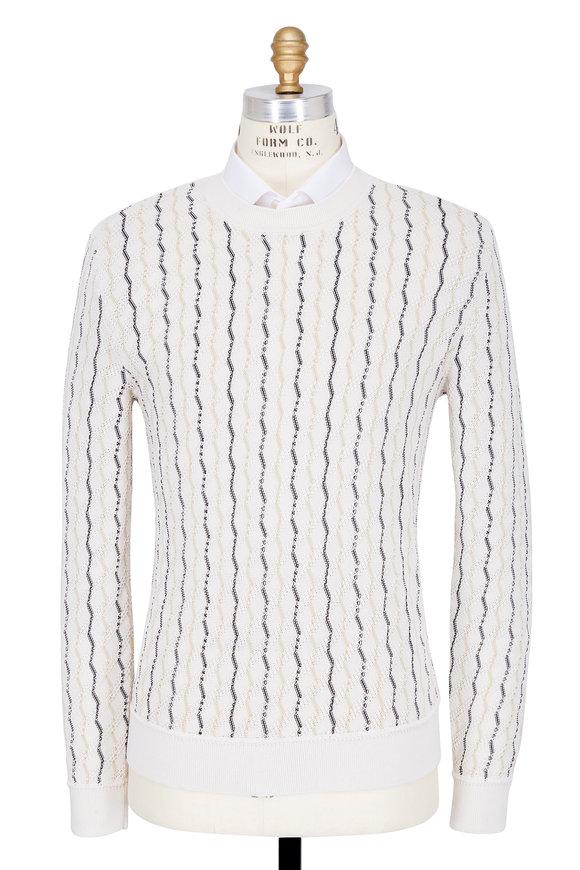 Maison Margiela White Wavy Vertical Striped Sweater