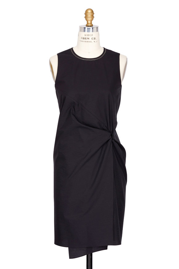 Brunello Cucinelli Black Cotton Wrap Front Sleeveless Dress