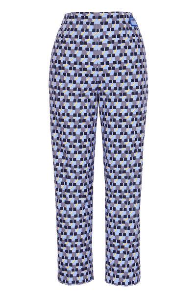 Prada - Blue Stretch Poplin Geo Print Pant