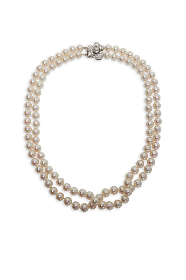 White Gold Akoya Pearl 2 Strand Necklace