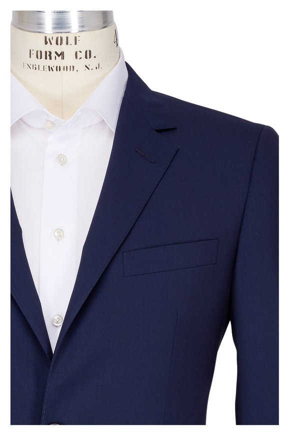 Lanvin Solid Navy Blue Wool Suit