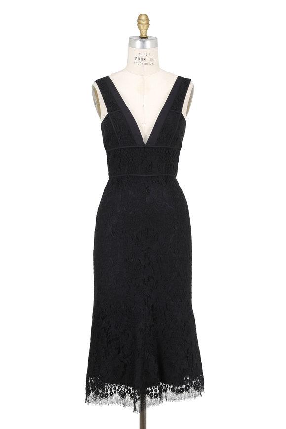 Victoria Beckham Black Floral Lace Deep V-Neck Midi Dress