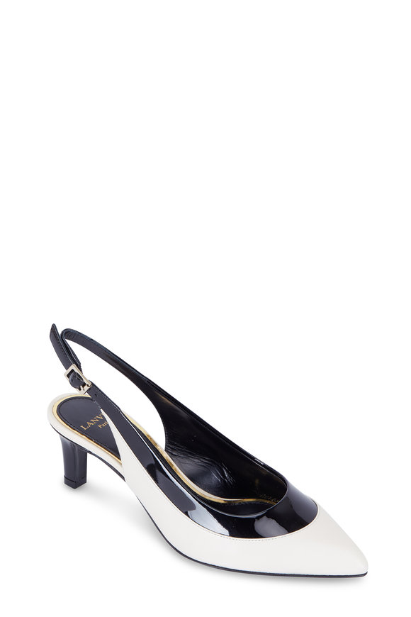 Lanvin Off-White & Black Patent Leather Slingback, 55mm