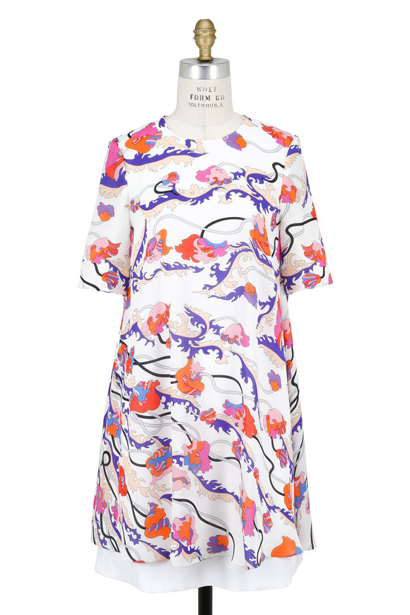 Pucci Pink Printed Overlay Split Back Dress