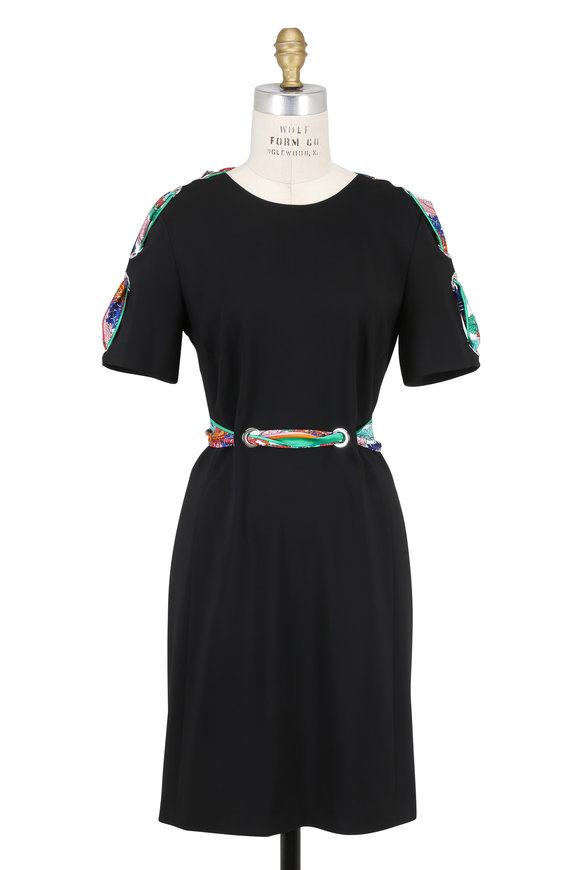 Pucci Black Scarf & Grommet Detail Short Sleeve Dress