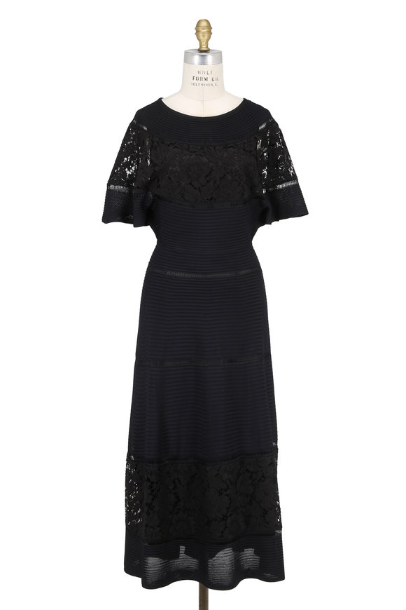 Valentino Black Cape Sleeve Dress With Lace Inset