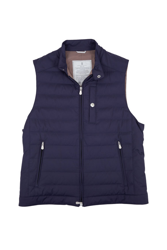 Brunello Cucinelli Navy Blue Qulited Down Vest