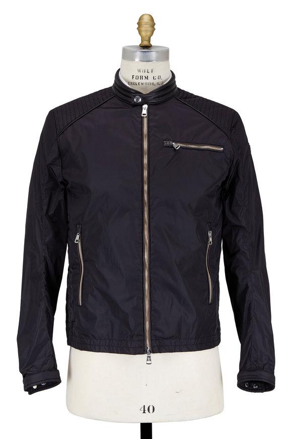 Moncler Black Nylon Moto Jacket