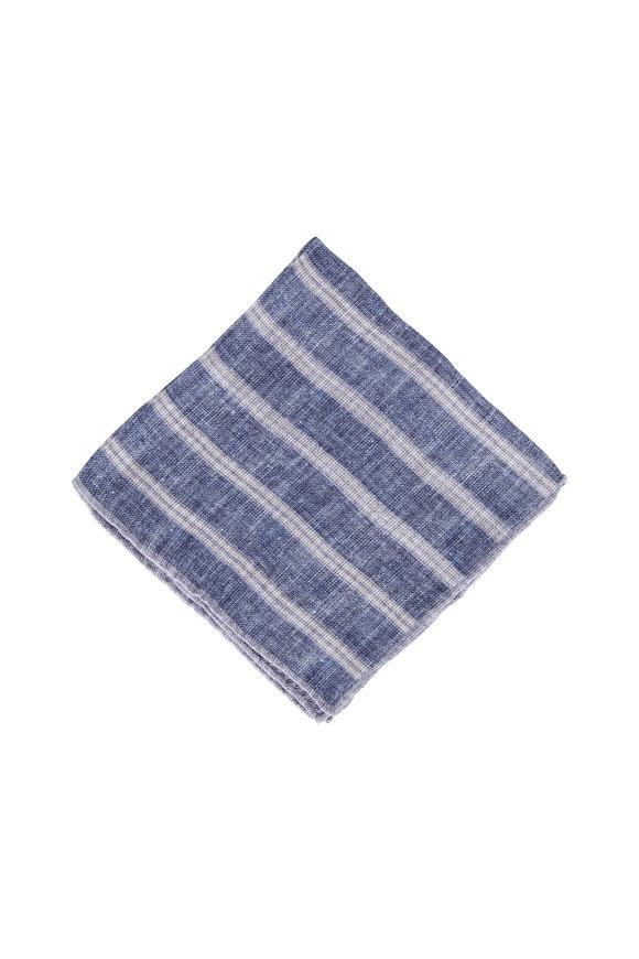 Brunello Cucinelli Blue Linen & Cotton Stripe-To-Check Pocket Square