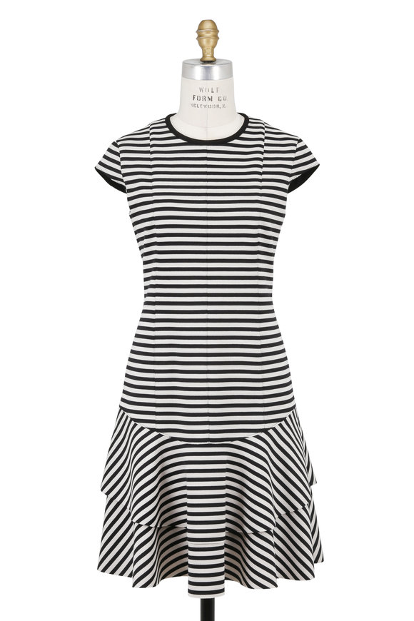 Akris Punto Black & Cream Striped Knit Flounce Skirt Dress