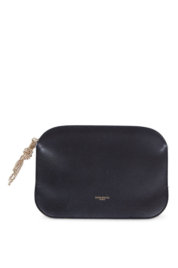Nina Ricci Elide Black Grained Leather Clutch