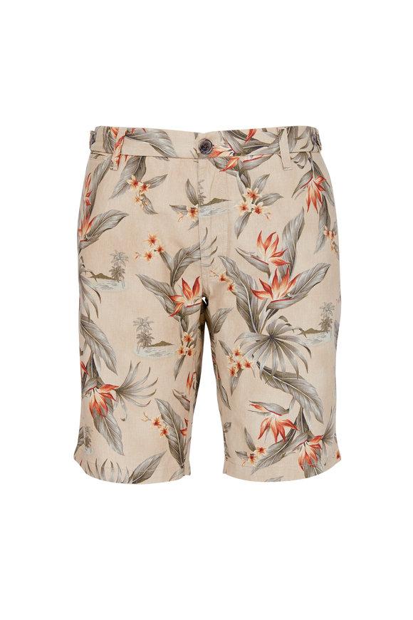Eleventy Tan Floral Print Stretch Cotton Bermuda Shorts