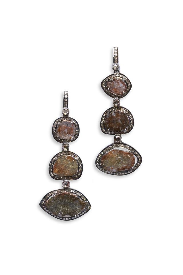 Sterling Silver White Diamond Slice Earrings