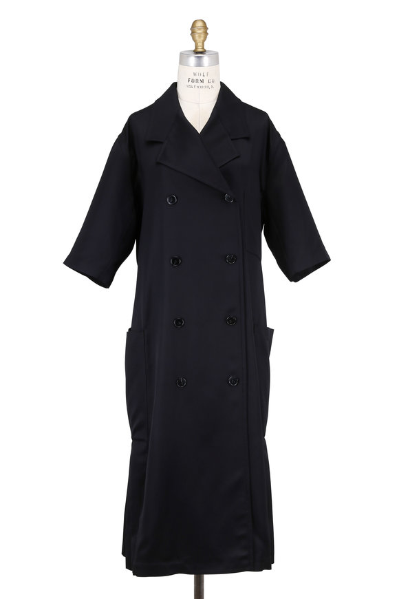 Victoria Beckham Black Gaberdine Double-Breasted Short Sleeve Coat