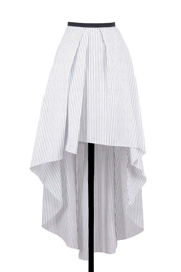 Brunello Cucinelli White & Black Striped Hi-Low Skirt