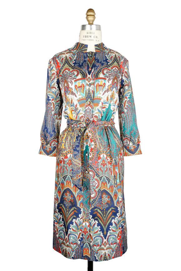 Oscar de la Renta Multicolor Paisley Silk Shirtdress