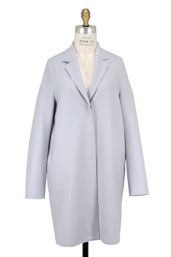 Harris Wharf Silvery Blue Double-Faced Wool Cocoon Coat