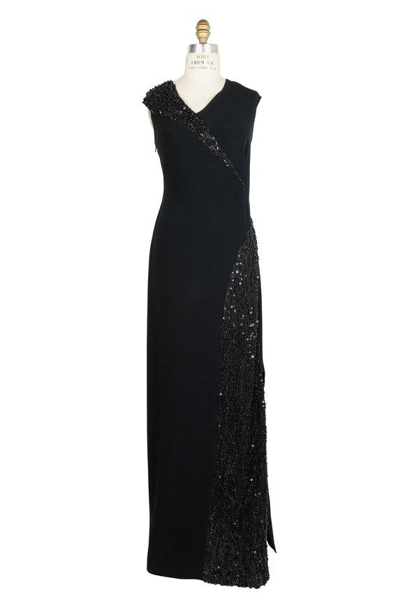 Pamella Roland Black Crêpe Sequin & Pearl Embellished Gown