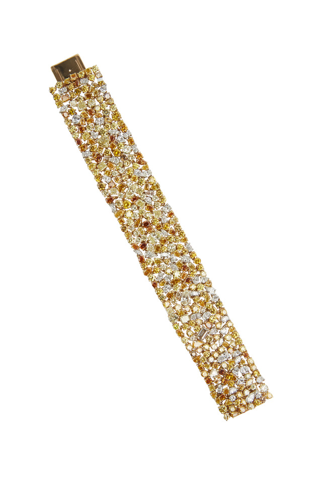 Platinum Fancy Yellow & White Diamond Bracelet