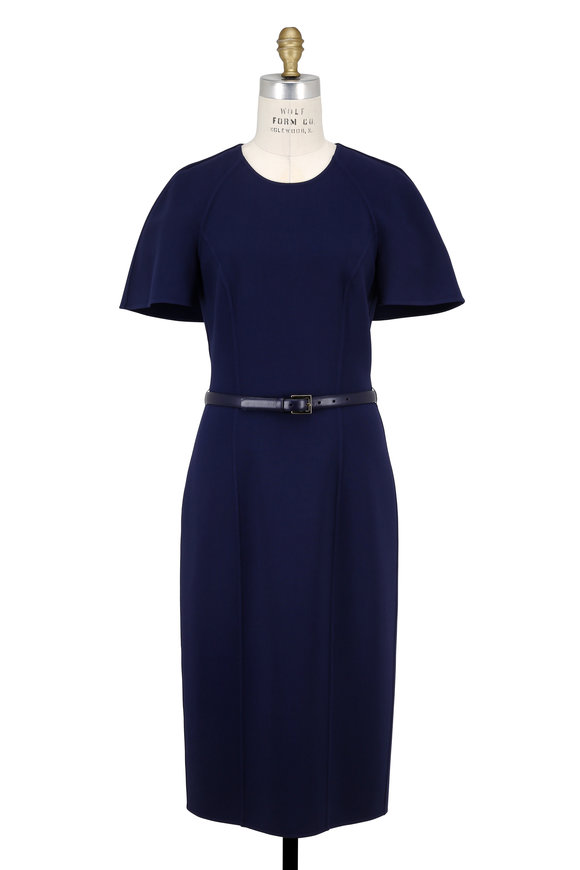 Michael Kors Collection Maritime Double-Faced Wool Capelet Sleeve Dress