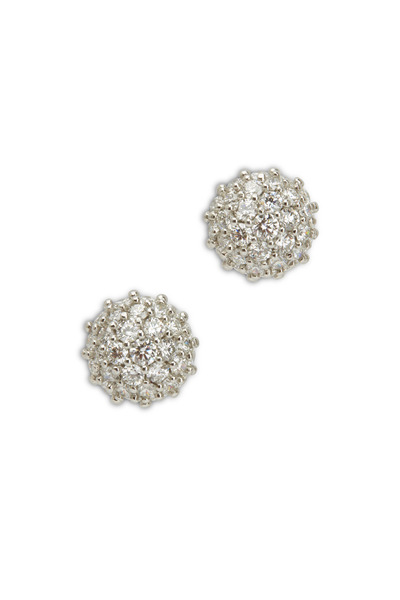 Oscar Heyman - Platinum Diamond Button Earrings