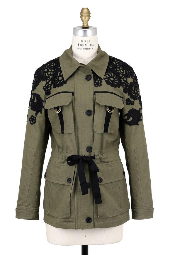 Veronica Beard Heritage Army Green Lace Trim Utility Jacket