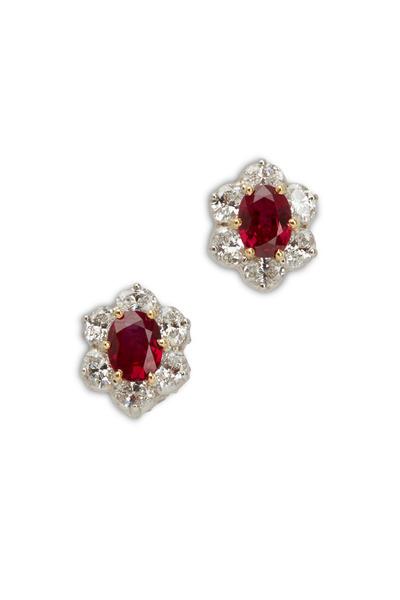 Oscar Heyman - Platinum Ruby White Diamond Earrings