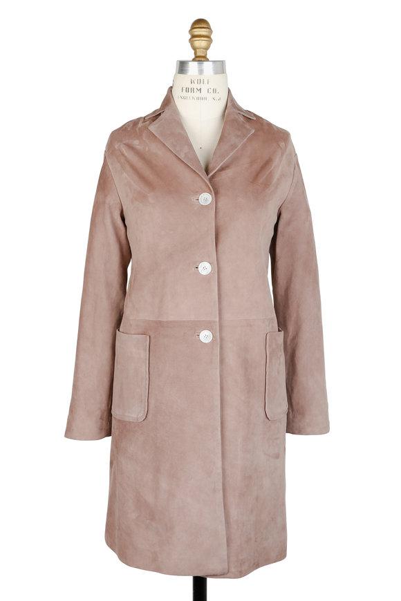 Kiton Taupe Suede Three-Button Coat