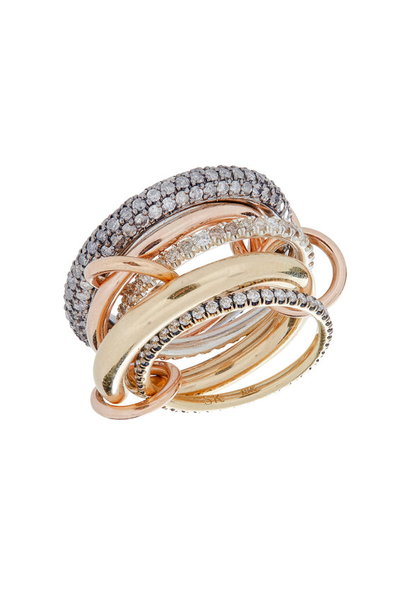 Spinelli Kilcollin 18K Gold & Silver Diamond Link Plexus Ring