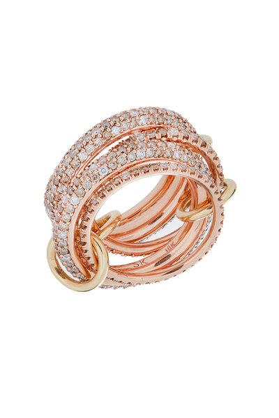 Spinelli Kilcollin - 18K Rose Gold Diamond Link Vela Ring