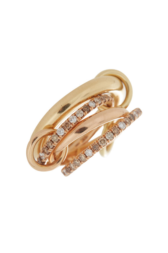 Spinelli Kilcollin 18K Rose & Yellow Gold Diamond Link Cancer Ring