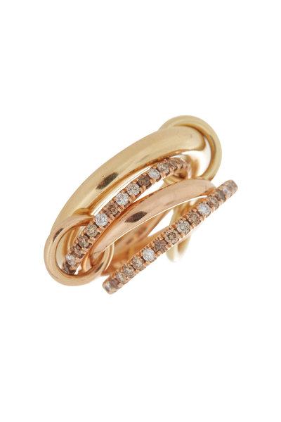 Spinelli Kilcollin - 18K Rose & Yellow Gold Diamond Link Cancer Ring