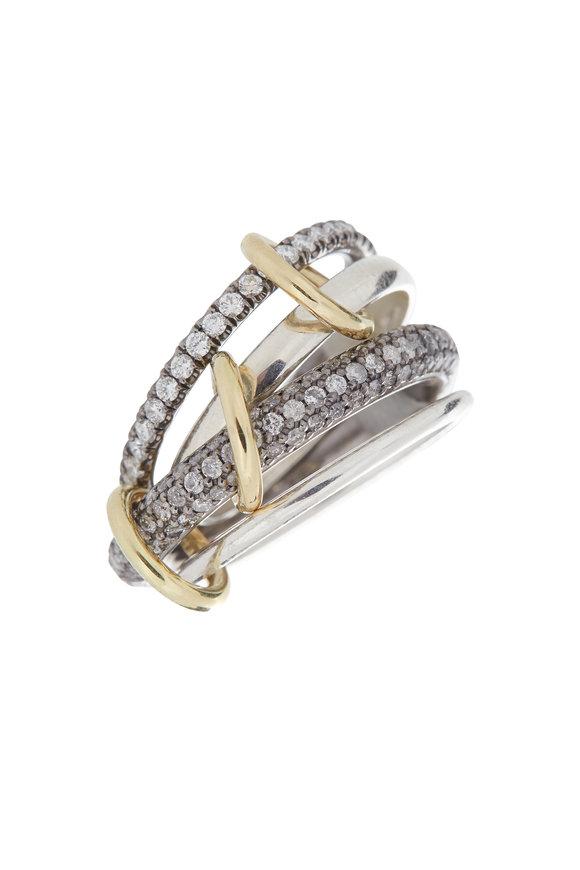 Spinelli Kilcollin Gold & Silver Diamond Link Vega Ring