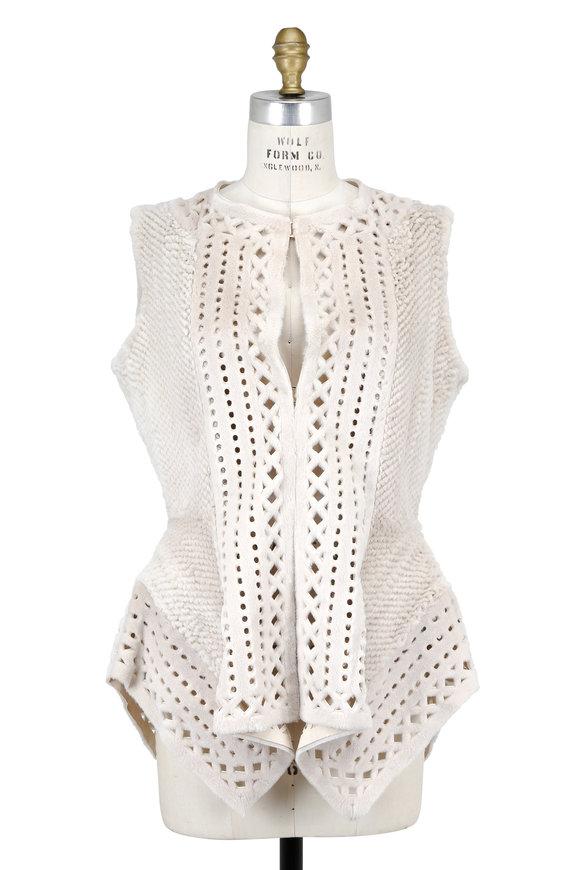 Oscar de la Renta Furs Pearl Mink Knitted Draped Vest