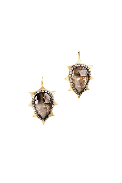 Sylva & Cie - 18K Yellow Gold & Silver Rough Diamond Earrings