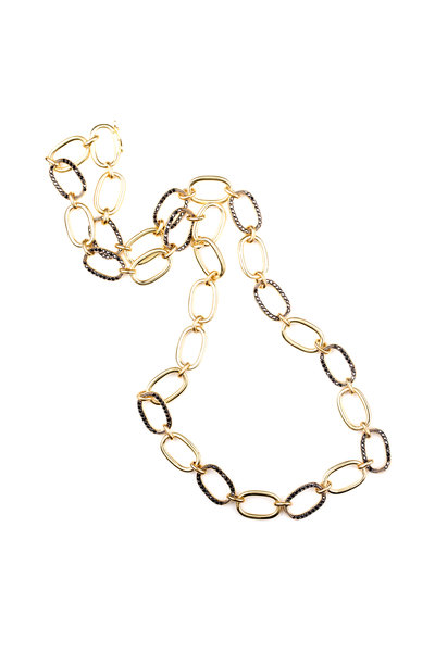 Sylva & Cie - 18K Yellow Gold Blackened Diamond Link Necklace