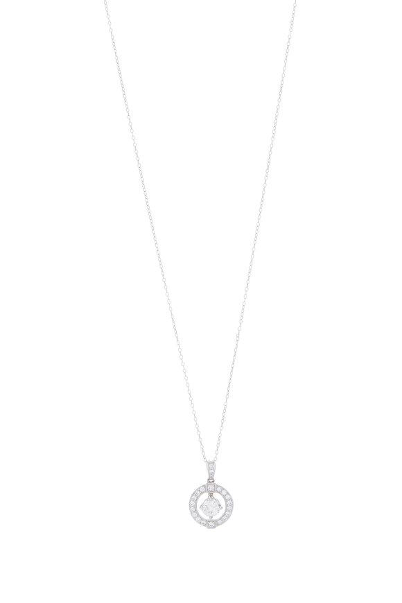 Louis Newman Platinum Diamond Pendant Necklace