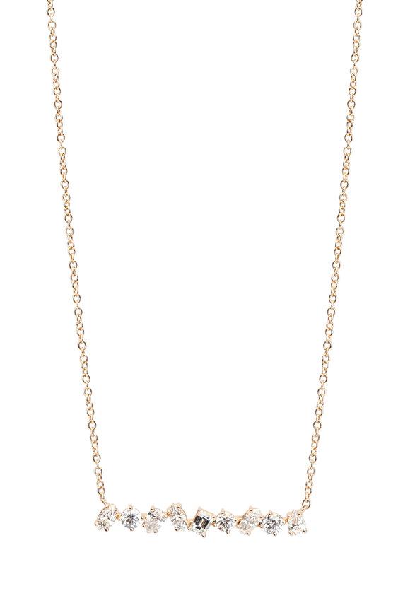 Kimberly McDonald 18K Rose Gold Irregular Diamond Bar Necklace