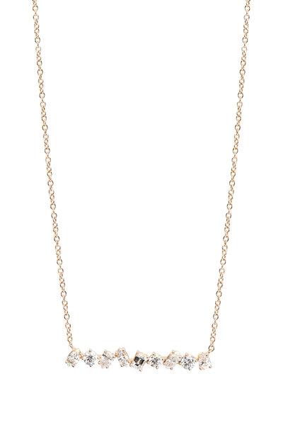 Kimberly McDonald - 18K Rose Gold Irregular Diamond Bar Necklace